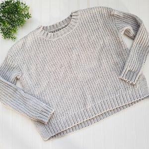 Aerie Light Gray Metallic Crop Chunky Sweater sz M